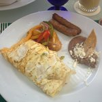 big portions for breakfast - omelet and sausage