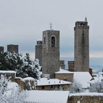 the towers with snow