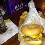 The Showalter-glazed donut bun, burger, bacon ,cheese and fried egg-yum!