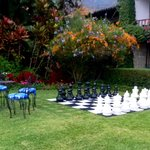 Gigantic chess game in the garden