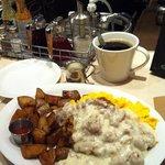 country fried steak, scrambled eggs, potatoes