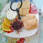 Scones with cream and berries