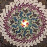 Art on ceiling of gazebo