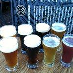 Sampling the beer!