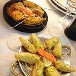 menù vegetariano e di pesce