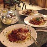 spaghetti and meatballs and chili spaghetti