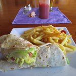 Lunch, curry chicken wrap