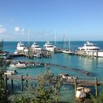 Nice view of the Staniel Cay Yatch Club from the Buttonwood Cottage with the w