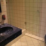 Bathroom: washbasin & shower stall