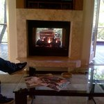 Our private fireplace in the living room