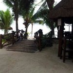 restaurant and bar on decking on the beach