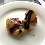 Fried Oreo with rasberry sauce