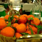 Mandarins served between the main and desert to clense the palate