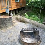 Firepit outside cabin