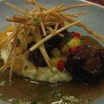 Delicious Negro Modelo Braised Short Ribs w/crema mashed. Yucca frites & pinea