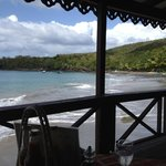 Eating lunch at the beach bar