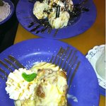 Bottom: Bread Pudding with Haupia sauce. Top: Sundae