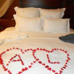 decorated bed for our wedding anniversary