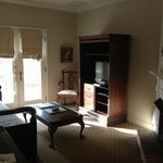 sitting room in suite 42. cozy gas fireplace on the right
