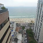 view of Ipanema beach from roof top cafe of the hotel