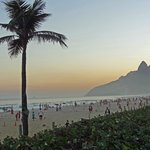 Ipanema beach life at sunset