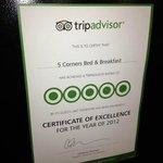 Awareded 5 Stars from Trip Advisor in 2012