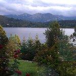 Vista al lago con un hermoso rosal en cada ventana desde la habitación 6 (Lago