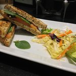 Salmon Sandwich and salad
