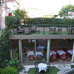 garden seating area and restaurant