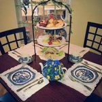 "This is the tiered tray service called the ""Blue Willow,"" such a cute name."