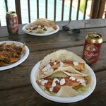 Typical lunch at the Beach Bar Restaurant - Fish Tacos ($7) and icy local beer