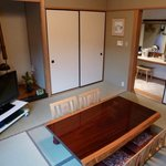 japanese suite with traditional tatami mat flooring