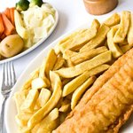 Haddock, chips and veg