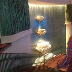 Stairway leading to lower level in the hotel
