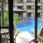 View from theKing size bed room with swimming pool access