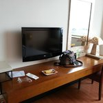 flat TV and desk