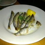 Sprats.  Not had them before.  A bit like whitebait but more flavour. Yummy.