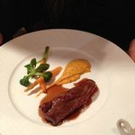 Lamb with Dijon mustard mixed with carrot puree