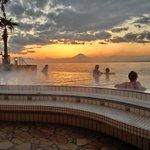 View of Beautiful Mt. Fuji from Enoshima Island Spa outdoor heated pools