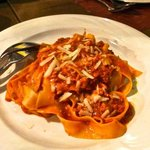 Pappardelle pasta with wild boar sauce.