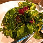 Their fresh salad with balsamic vineger and olive oil dressing.