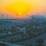 Soleil levant sur le circuit de Formule 1
