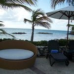 Some of the seating @ main pool with beach in background.