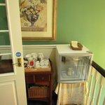 upstairs landing with fridge containing fresh milk for tea/coffee