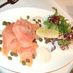 smoked salmon with capers and creamed horseradish