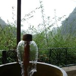 Hot water fountain outside the room