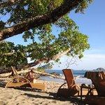reposeras en la playa del hotel