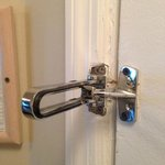 Dead bolt broken. Wood framing was so badly damaged that  it wouldn't hold bac