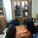 Lots of bags in our tiny room
