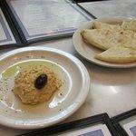 Complimentary hummus and pita
